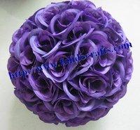 25cm plastic center Artificial flowers ball,wedding kissing flower ball,celebration decoration