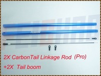 F00608-Z 2X Carbon Tail Linkage Rod + 2X Aluminum Tail Boom For Align TREX 450 Pro RC Helicopter+Free shipping