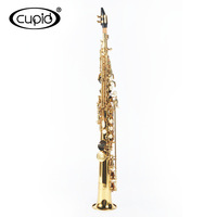 China cheap stock sax standard bakelite mouthpiece gold lacquer soprano saxophone sax with case