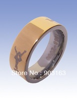 Wholesale best selling New Arrival Guaranteed 100% 8MM Tungsten Carbide Laserl Memorial Ring Gild + free shipping