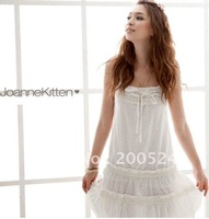 JOANNEKITTEN dress,Met Alice! Level lotus leaf cotton lace with spaghetti straps dresses,white,blue&free gift,Free shipping