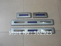 free shipping Hyundai Elantra 2005-2012 sedan Stainless Steel Scuff Plate with LED light