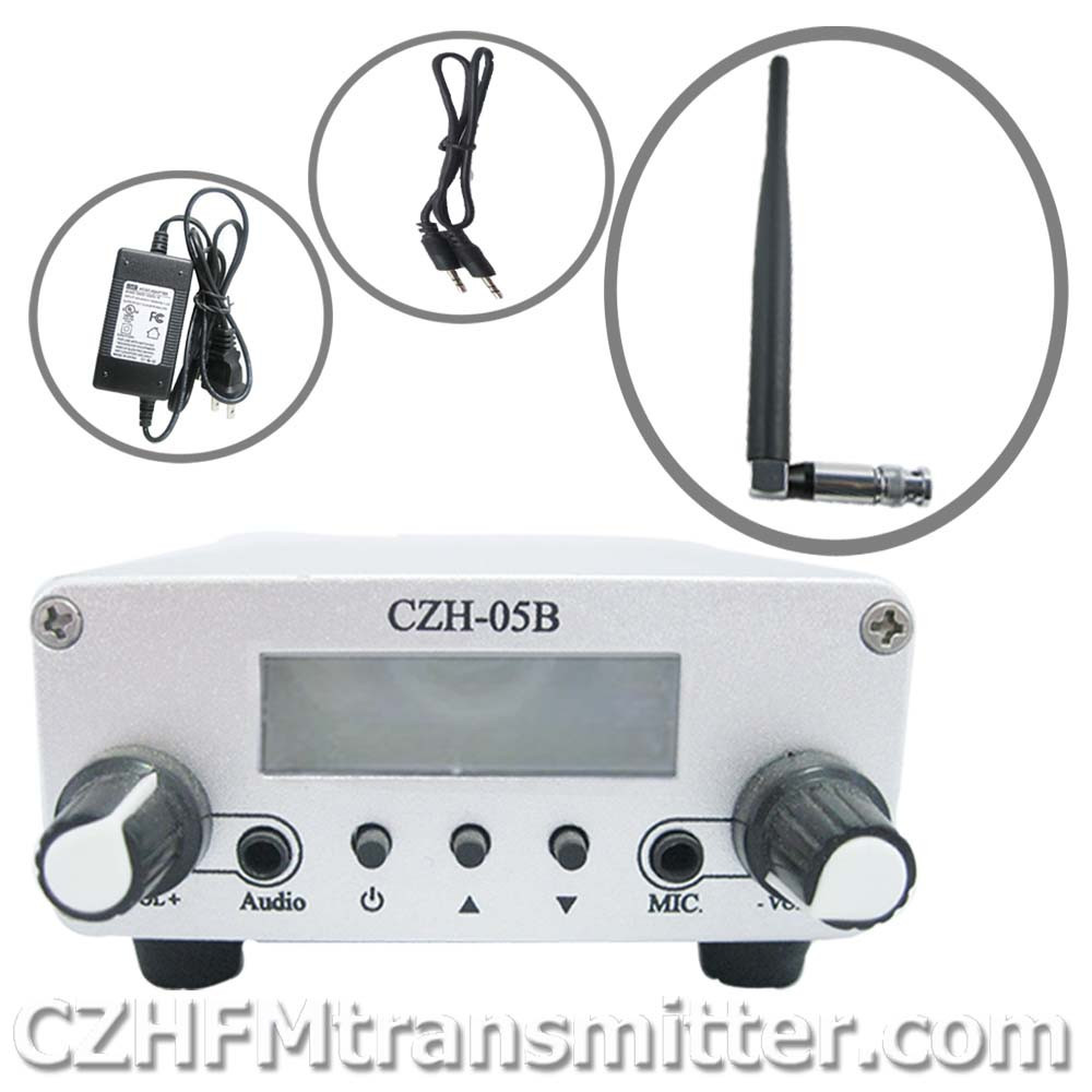free shipping czh-05b 0.5w Fm transmitter PLL 76-108Mhz radio Broadcast rubber antenna kit(China (Mainland))