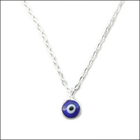 10pcs/lot Turkish blue evil eye necklace with 1cm samll pendent Silver plating color