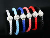 Luxury Rhinestones Bracelet Woven Faux Leather Cord Bracelets Bangle DOUBLE WRAP BRAIDED Wristband 20cm