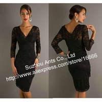 Formal Evening long Sleeve Black Short Mother of Bride Dress Lace FA251