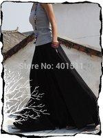 S0008 black free shipping high quality women's fashion long cotton patchwork maxi skirt super big sweep 7m