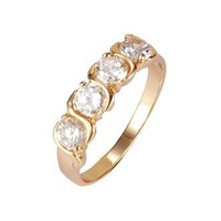 Ladies' 18K Yellow Gold Plated & Prong Setting 2.8 CT Round Brilliant Cut Grade AAA Cubic Zircon Diamond Engagement Ring (8196)