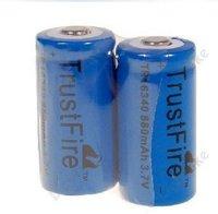 2PCs Trustfire Blue 16340 Battery 3.7V 880mAh Rechargeable Lithium Battery Recharge Li-ion Battery For Torch Flashlight Camera