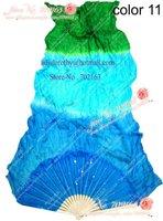 12PCS/lot Dark blue sky blue green belly dance silk fan veils