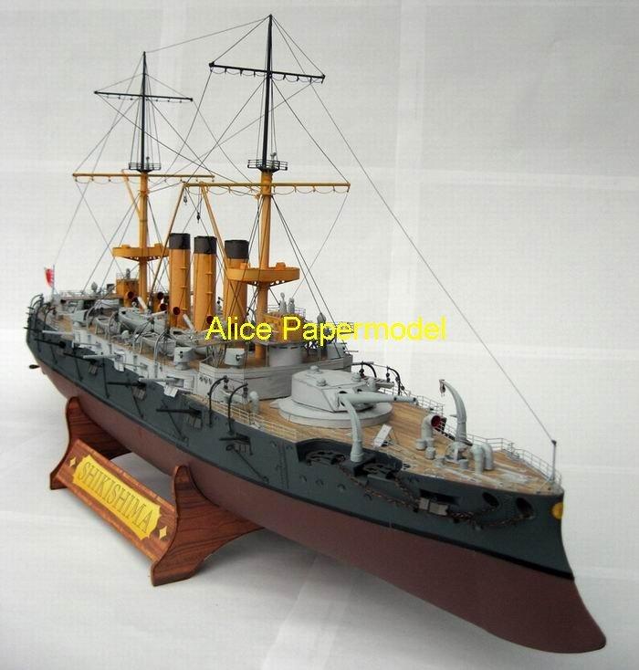 [Alice papermodel] Long 68CM 1:200 Japanese battleship Shikishima warship boat cruiser ironclad model(China (Mainland))