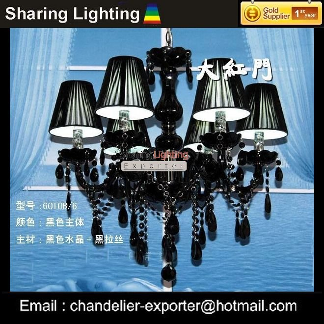 Wholesale factory sell 6 Lights crystals chandelier,Free shipping crystal lamps,black crystal chandeliers