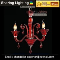 [Sharing Lighting]New modern red glass chandelier,candle chandelier,cheap chandelier+Free shipping