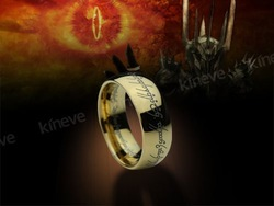 LOTR lord of the Rings Tungsten Carbide One Ring, Gold Plated(China (Mainland))