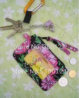 Wholesale-100% VB Quilting cotton Zip ID Case Card package, key chains 20pcs/lot