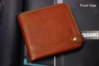 Designer Real Leather Wallet, Guaranteed 100% Genuine Leather  Purse Men,Vintage Brown, Round bronze zipper,safe,[Fashion Depot]
