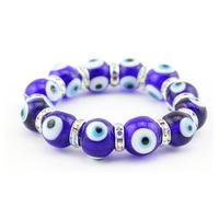 Turkish glass blue evil eye beads bracelet Dark blue color lucky eye handmade 10pcs/bag