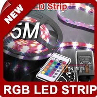 EMS Free Shipping 5M 500CM Waterproof RGB 5050 LED Strip+24 IR Remote +Power Supply (12V 3A)
