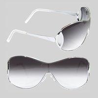 Shield Sunglasses for Men Stylish Unisex Glasses Gradient Color Sunglasses Women Brand Designer Silver Frame Gray Lens