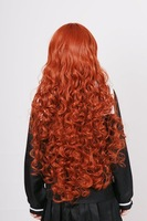 Halloween wig Wavy 36 inch COPPER RED BROWN long bangs curly wig cosplay wig 10pcs/lot