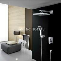 "8"" Bathroom Rainfall Shower head+ Arm + Hand Spray+Valve Shower Faucet Set 50011A/2"