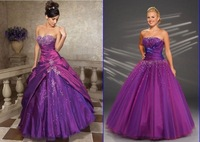 Free shipping  PURPLE PROM BALL EVENING GOWNS STOCK SIZE 6 8 10 12 14