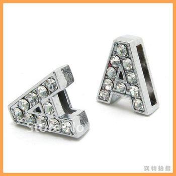 HOT! DIY Accessories 50pcs 8mm *A* Slide letters Wear letters Fit Wristbands or Pet Collar