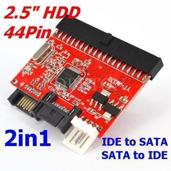 """5set 2 in 1 IDE TO SATA Sata to 2.5"""" 44pin HDD Hard Disk Driver Adapter Converter 2.5 inch DVD RW CD ATA Serial 100 133 Adaptor"""