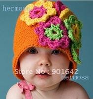 1 PC Retail Promotion 100% Handmade Baby Girls Orange three pieces Flower Beanies Girls Hat Christmas Gift Free Shipping
