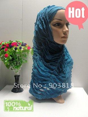 2-pcs set crepe islamic skull scarf with falbala,Ladies' scarf,Ladies' hijab,Hot drill higab,ladies shawl 122103(China (Mainland))