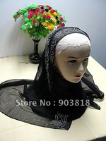 free shipping hot drill silk long scarf with diamond emrboidery,the newest women muslim scarf,muslim headscarf 112309