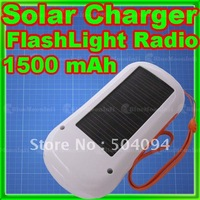 Solar Charger Flashlight 6 LED FM Radio 1500mAh USB NEW