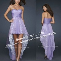 2013 New Western Style Lilac Short in Front Long in Back Fishtail Evening Dress Lace FB382