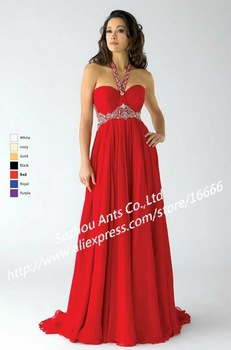 2012 Fashion VZ010 Beaded A Line Halter Formal Low Back Long Chiffon Red Evening Dress