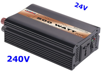 Pure Sine Wave Inverter 500W 24VDC 240VAC solar wind car battery power   free shipping