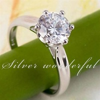 Free Shipping Wholesale 925 silver rings, 7.5mm super large cubic zircon pure 925 sterling silver rings CZ women jewelry WR040