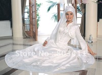 Classical Elegant A-Line Satin Muslim Wedding Dress