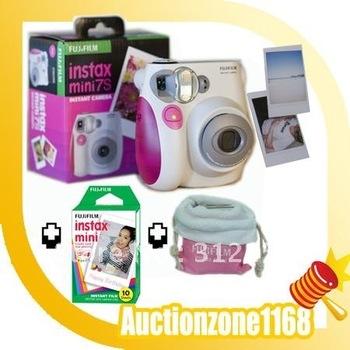 free shipping Fuji Instant Instax Mini 7S Polaroid Camera + Film&Case