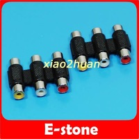 Free shipping ! 5pcs/lot Female to Female 3 RCA AV Audio Video Coupler Adapter