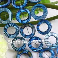 Fashion 25mm Blue Mother Of Pearl Shell Stripes Donut Beads Jewelry (sb1092)