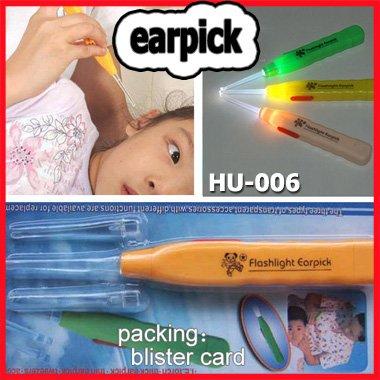 WHOLESALE earpick flash light baby safe health tool lighting earwax remove spoon novelty promotion gift 30sets/lot say hi HU-006(China (Mainland))