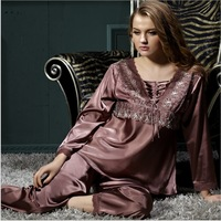 New arival Hot Sale Sexy Silk robe costume long sleeve women Pajamas (Top+pant 2pieces) Lace Sleepwear sets 2colors Fee shipping