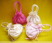 Free shipping 10piece/pack Eco friendly Satin Embroidery Drawstring Big Wedding Favor Tote Bags