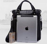 Best quality+100% real leather man bag for Ipad,designer men handbag,brand man bags+Free Shipping  Black