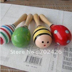 30% OFF!!! 50pcs Hot Sale Wooden Toy Rattle Cute Mini Baby Sand Hammer Wholesale+ free shipping