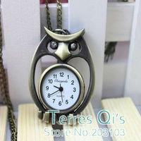 10pcs/lot Fashion Rhinestone Eye Owl Quartz Pocket Watch Pendant Necklace Quartz Watches