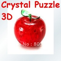 Apple 3D Crystal Puzzle with color box Christmas gift can mix order 10pcs/lot Free shipping