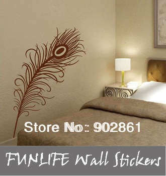 [funlife]1pc drop ship-Peacock Feather Art  vinyl Wall Sticker Decal Deco 110cm high