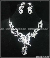 G051 Wholesales-RHINESTONE  BRIDEMAIDS butterfly dropping silver color NECKLACE EARRINGS earclip JEWELRY