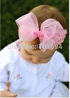 girls hair bows hair band headband -soft crochet headband with hair bow 100pcs/lot